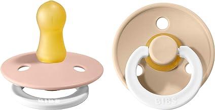 BIBS Schnuller Colour 2er Pack, Naturkautschuk, dänische Schnuller mit Kirschform. Blush NIGHT/Vanilla NIGHT, Größe 1 0-6 Monate