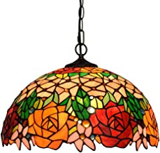 Ceiling lightTiffany Style Pendant Lamp Retro Red Tulip Stained Glass Pendant Light for Home Restaurant Bar Decoration Cha...