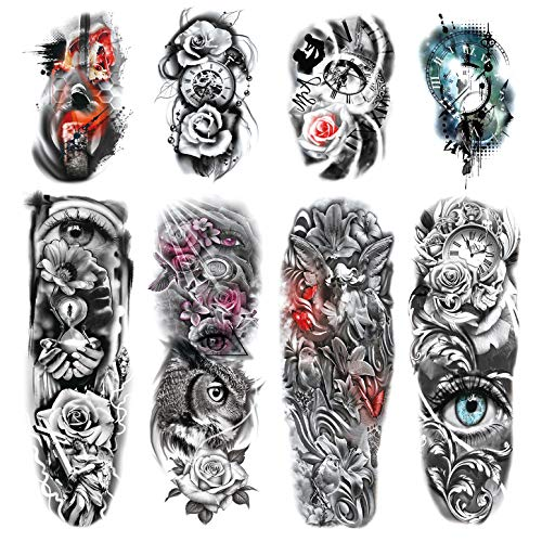 Leoars 4 Sheets Large Arm Temporary Tattoos and 4 Sheets Full Arm Sleeve Tattoo Sticker, Black Animal Eye Flower Fake Tattoos Sleeve Body Art for Women Men