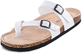 TF STAR Adjustable Mayari Flat Leather Casual Sandals for Women & Ladies, Youth Suede Slide Cork Footbed for Teenagers/Girls