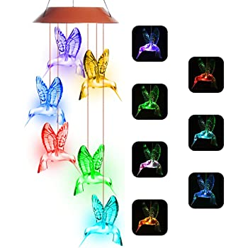 Hummingbird Wind Chimes, PATHONOR Color Changing Solar Wind Chime Outdoor Mobile Waterproof Six Hummingbird LED Solar String Lights Gifts for Home Party Night Garden Hanging Decoration