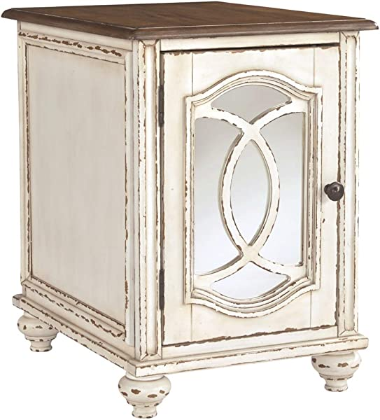 Signature Design By Ashley T743 7 Realyn Chairside End Table White Brown