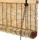 Mirui Persianas de bambú natural enrollable, persianas enrollables naturales romanas para ventana/puerta/patio, cortina de sol para decoración de balcón, personalizable (145 x 235 cm)
