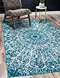 Unique Loom Sofia Collection Traditional Vintage Area Rug, 2' 2' x 3', Turquoise/Ivory