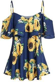 Fashion Women Tops Sunflower Printed Sling Shirt Camis Short Sleeve Ruffles Cold Shouder Blouse Strapless Tees
