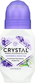 Crystal Mineral Deodorant Roll-On, Lavender & White Tea 2.25 oz (Pack of 2)