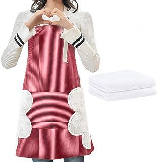 پیش بند بادی قابل تنظیم ، مناسب برای پیش بند آشپزخانه ضد آب زنانه ، جیب و دو حوله جانبی ، به علاوه دو دستمال سفره