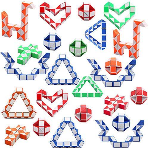 Viccess 24 Stücke Magic Snake Schlangen Würfel Magische Geschwindigkeit Würfel Mini Kunststoff Puzzle Würfel Spielzeug für Kinder Party Tasche Füllstoff, Party Supplies,Zufällige Farbe,Zufällige Farbe