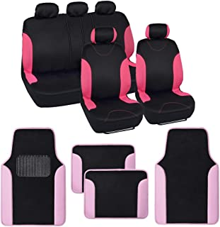 BDK Combo Double Trim Car Seat Covers (2 Front 1 Bench) Auto Carpet Floor Mats (4 Set) with Heavy Protection Sleek Graphic Two Tone Fresh Design All Protective - Pink Accent