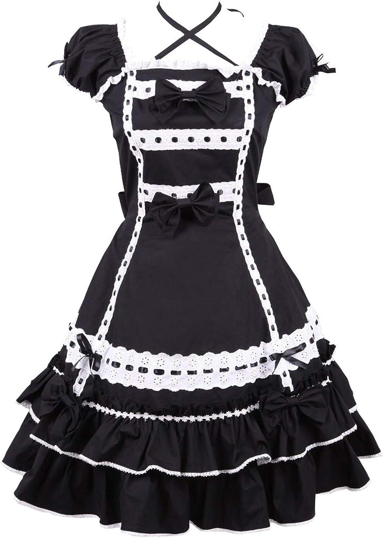 Antaina Black Cotton Lace Bows Ruffle Neck Strip Gothic Lolita Cosplay Dress