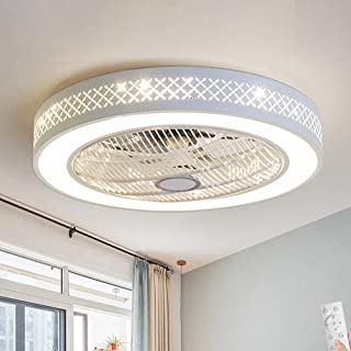 LAKIQ Ceiling Fan with Lights 3-Color Lighting Bedroom 2-in-1 LED Semi Flush Mount Ceiling Light 21.5'' Modern Close to Ce...