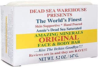 Dead Sea Warehouse - Amazing Minerals Original Face and Body Bar, Soothing Dead Sea Minerals Support Clear and Healthy Skin, Great for All Skin Types, Sensitive Skin Friendly (Unscented, 5.2 Ounces)