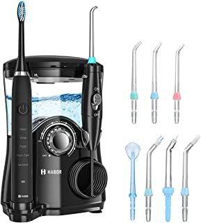 Habor Water Flosser 600ml Oral Irrigator & Electric Toothbrush with 7 Multifunctional Jet Tips & 2 toothbrush heads, 2 Min Timer Electric Dental Flosser, Quiet Design Family
