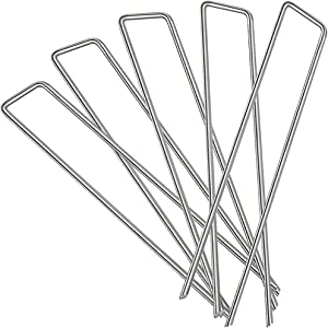 Garden Stakes 100 Pack 6 Inch Galvanized Landscape Staples, U-Shape Turf Staples Heavy Duty Galvanized Lawn Pins for Anchoring Weed Barrier Fabric, Ground Cover, Dog Fence, Tents Tarps