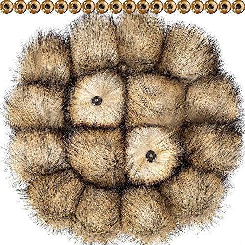 DIY Kunstpelz Pom Poms Ball mit Druckknopf Abnehmbarer Flauschiger Pompon für Strickmützen Schuhe Schals Tasche Zubehör (Natürliche Farbe, 16)