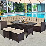 Tangkula 5 PCS Patio Furniture Set, Outdoor Conversation Set with 6 Cushioned Seat 2 Ottomans & Coffee Table, All Weather Wicker Dining Table Set with Ottoman, Rattan Sectional Couch Sofa Set