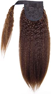 Better Length Kinky Straight Ponytail 16 Inch Brown Hair Pieces Human Hair Ponytail Extensions Claw Clip Wrap Around For Black Women 100g (100g 16