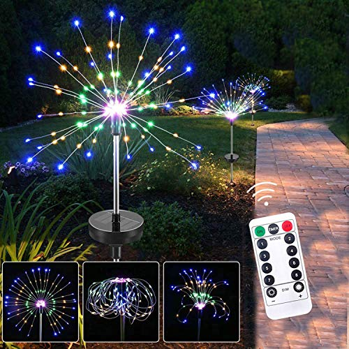 Solar Firework String Lights, 2 Pack 200 LED Starry Starburst String Lights Solar Powered Landscape Lights, 8 Modes String Fairy Lights for Garden, Walkway, Patio, Lawn, Backyard, Party (Multi-Color)