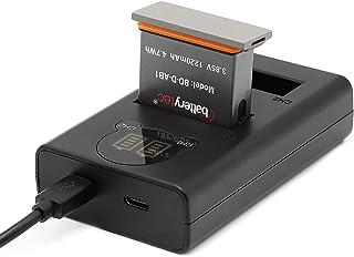 Batterytec® Ersättningsbatteri för actionkamera och LED dubbelladdningskit för DJI OSMO ACTION AB1. [Uppladdningsbar, 12 m...