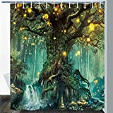 Gdmoon Fairy Tale Forest Shower Curtain Lanterns River Dream Tree of Life Fantasy Colorful Plants Natural Landscape Fabric Bathroom Curtain Set with 12 Hooks Waterproof Durable 72X72In YLLMGD873