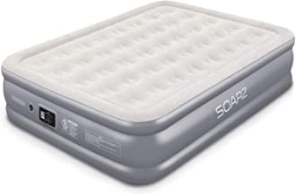 Soarz Queen Air Mattress with Built in Pump, Inflatable Blow Up Mattress for Guests & Camping, Double High Elevated Airbed with Comfortable Flocked Top, 80 x 60 x 18 inches, 3-Year Warranty