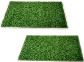 ENYRA Homes Anti Slip Gel Back Artificial Grass Door Mat for Living and Home Decor (40 x 60 cm, Green) Pack of 2