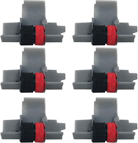 IR-40T Ink Roller, Black and Red Compatible with Canon P23-DH V Calculator, Casio HR-100TM, HR-150TM (6 Pack)