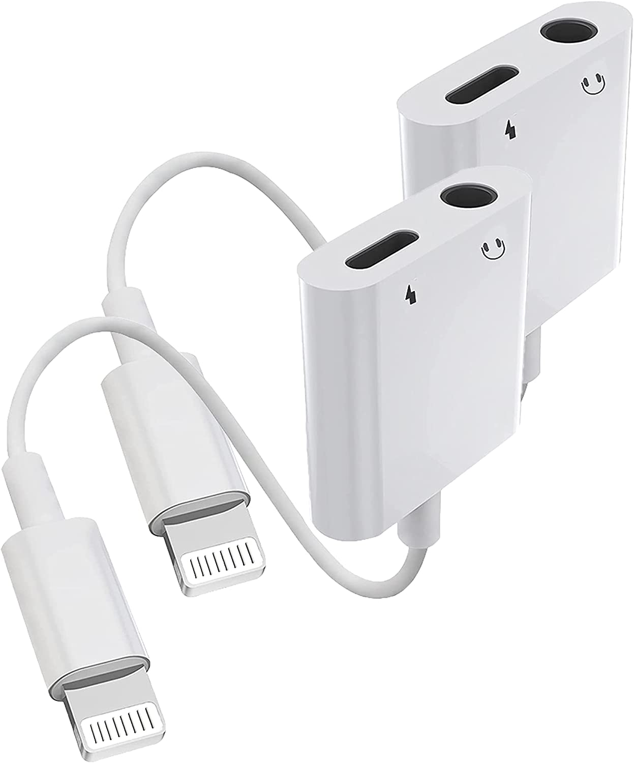 Apple MFi Certified 2 Pack Lightning to 3.5mm Headphones and Charger Adapter for iPhone, 2 in 1 iPhone Charger and Aux Audio Splitter Dongle Compatible for iPhone 12/11/XS/XR/X 8/iPad Support All iOS