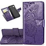 COTDINFOR Etui für Huawei Y5 2019 Hülle PU Leder Cover Schutzhülle Magnet Tasche Flip Handytasche im Bookstyle Kartenfächer Lederhülle für Huawei Honor 8S / Y5 2019 Flower Butterfly Dark Purple SD
