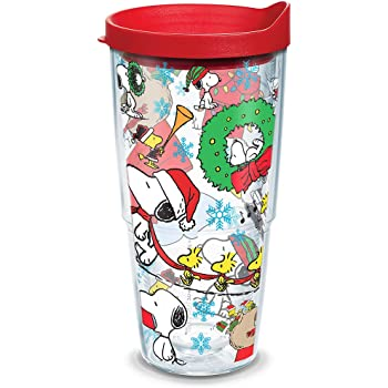 Tervis 1270639 Peanuts Christmas Collage Insulated Tumbler with Lid 16 oz Clear