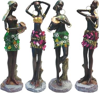 "Rockin Gear Statue 10"" Inches Tall 4 Piece Set African Women Figure Decor Art Statues Sculptures - Human Decorative Home Black Figurines"