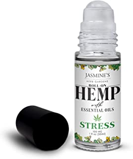 Jasmine's Herb Garden Stress Relief Essential Oil Blend with Hemp Extract - Roll On Essential Oil Blend - Relaxing & Unwinding, Fights Anxiety - 1 fl oz