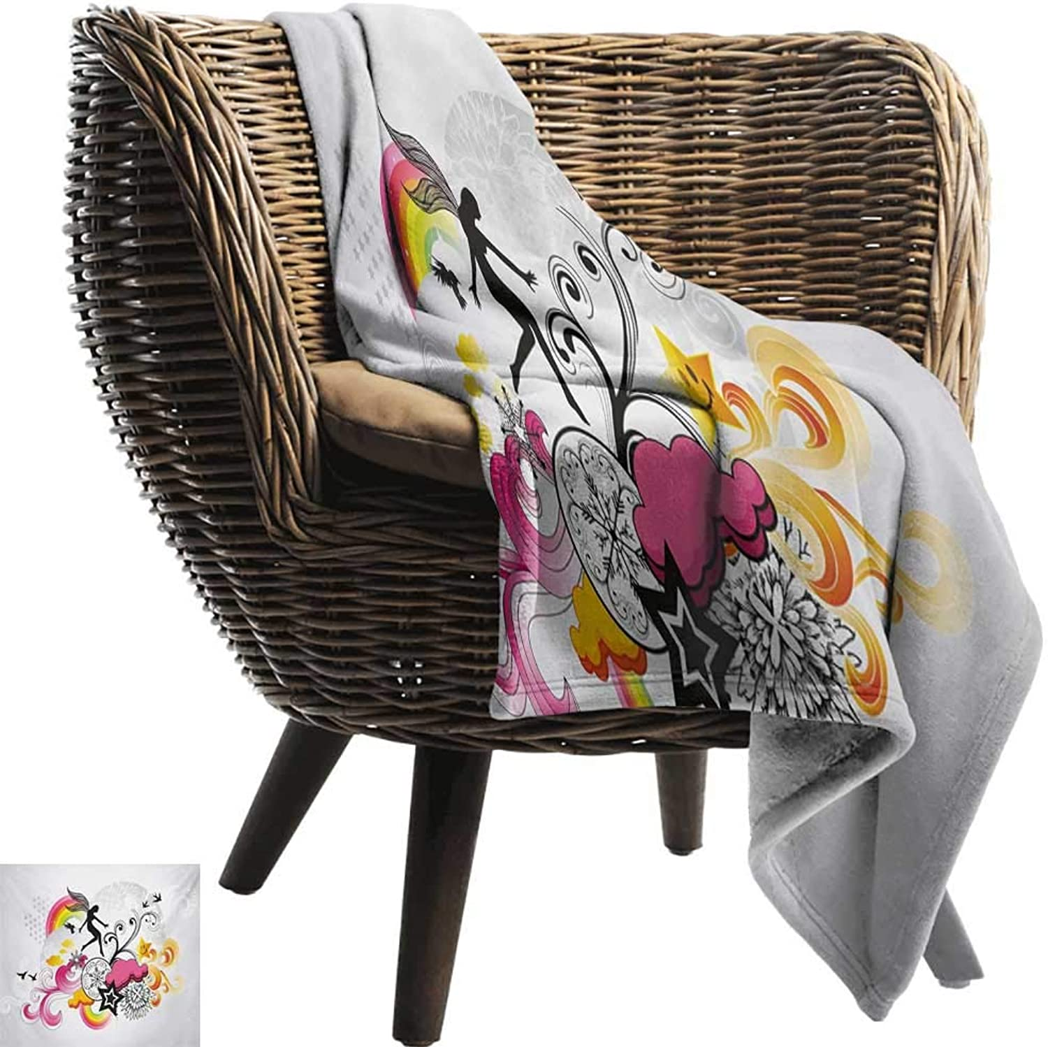 BelleAckerman Picnic Blanket,Modern,Floral Theme Swirl Design Fairy Birds Rainbow Snowflake and Clouds Art,Dust Black and Pink,colorful   Home, Couch, Outdoor, Travel Use 35 x60
