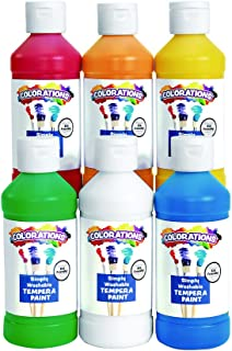 Colorations Simply Washable Tempera Paints, 8 fl oz, Set of 6 Colors, Non Toxic, Vibrant, Bold, Kids Paint, Craft, Hobby, ...