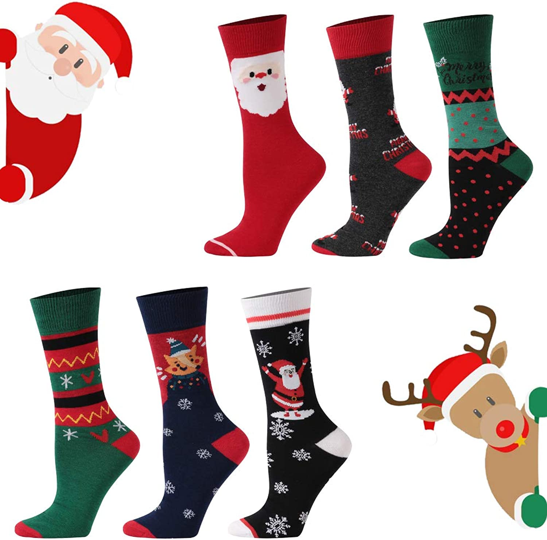Christmas Dress Socks, YIDUODE Fun Cartoon Printed Holiday Socks, 3 6 Pairs