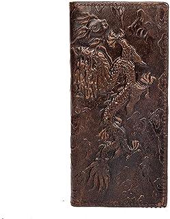 BeniMen's head oil wax skin pressure flower long vertical horizontal wallet Leather multi-card zero wallet-Long brown