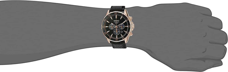 Seiko Mens Chronograph Quartz Gold and Black Leather Dress Watch (Model: SSC448)