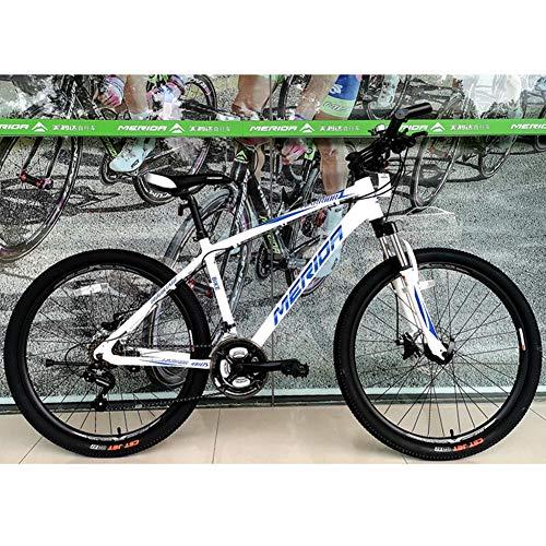 """QIMENG Bicicleta Montaña Adulto Bicicleta Montaña 26"""" Cuadro De Acero De Alto Carbono con Doble Freno De Disco Cambio De 21 Velocidades Frenos De Disco,Blanco"""
