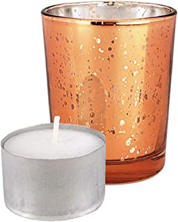 Just Artifacts Speckled Mercury Glass Votive Candle Holder 2.75-Inch (12pcs, Copper Votives) w/ 12pcs Wax Tea Light Candles Included