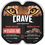 CRAVE Grain Free Adult High Protein Natural Soft Wet Cat Food Chicken & Beef Paté, (24) 2.6 oz. Twin-Pack Trays
