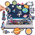 JITEBTI Space Magnetic Puzzles Play Scene 38 Piece for Kids Imagination and Creativity,Easy to Carry Kids Magnetic Travel Games, Learning & Educational Space Toys for Kids Age 3+ from JITEBTI