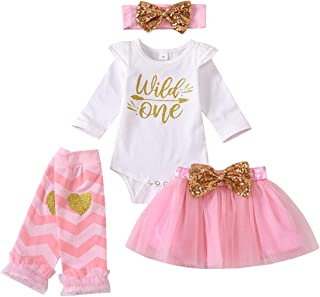 Infant Toddler Baby Girl Outfits 1st Birthday Romper One Top Bow Knot Tutu Skirt 2PCS Fall Winter Clothes