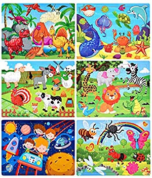 Puzzles for Kids Ages 4-8 Wooden Jigsaw Puzzles 60 Pieces Preschool Toddler Puzzles Set for Boys and Girls 6 Puzzles