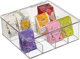 mDesign bac de rangement – boite à thé pratique avec couvercle pour la cuisine et le garde-manger – casier de rangement av...