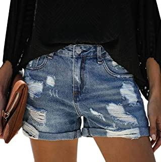 Yeirui Womens Sexy Summer Mid Destroyed Ripped Waist Denim Shorts Jeans Hot Pants