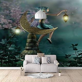 Papier Peint Intissé Tapisserie Murales Panoramique 3D Personnalisé Photo Mur Papier Peint Fille Sur La Lune Peinture Mura...