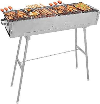 IRONWALLS Stainless Steel Charcoal Shish Kebab Grill BBQ Grill Barbecue Kit for Garden Backyard Camping
