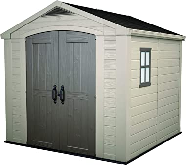 KETER Factor 8x8 Foot Large Resin Outdoor Shed with Floor for Patio Furniture, Lawn Mower, and Bike Storage, Taupe & Brown