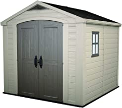KETER 213563 Factor 8x8 Large Outdoor Storage Shed, Beige