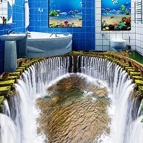Nomte Benutzerdefinierte 3D Stereo Bodentapete Runde Wasserfälle Pool Selbstklebende Wandbild Fototapete Wasserdicht für Badezimmerboden-250x175cm